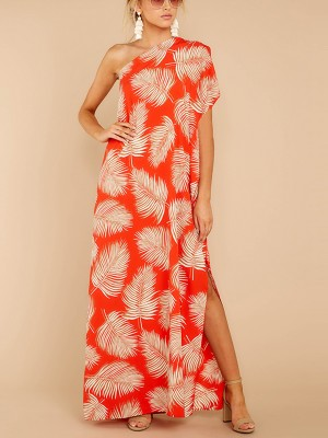 Super Trendy Split Maxi Dress Sloping Shoulder Versatile Item