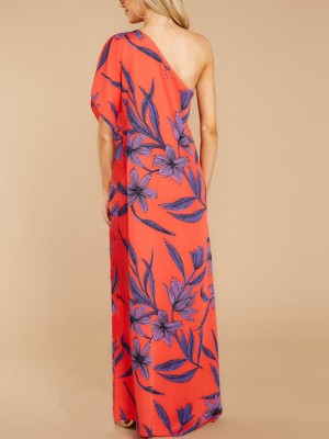 Affordable Flower Print Maxi Dress High Split Loose Fit