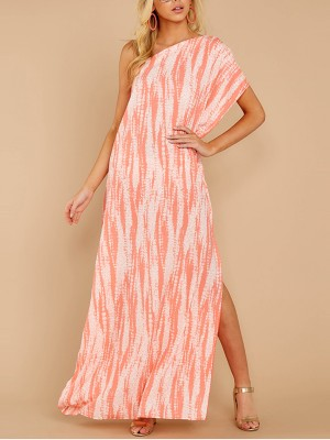 Slim Fit Pink Sloping Shoulder High Slit Maxi Dress Slim
