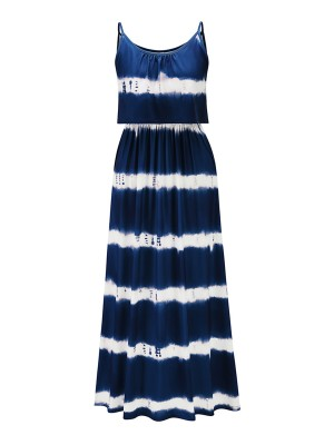 Diva Royal Blue Stripe Maxi Dress Ruched High Waist Fashion Style