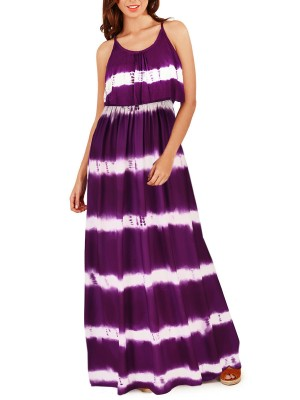 Exquisitely Purple Maxi Dress Elastic Waist Dye Print Comfort