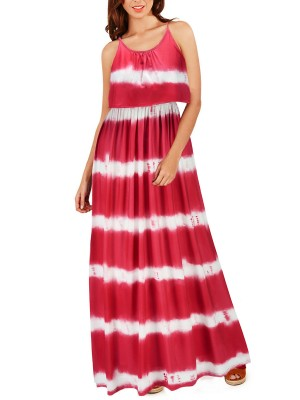 Pretty Red Sling Stripes Tie-Dyed Long Dress Fashion For Women