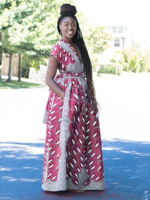 Glossy Pink African Paint Maxi Dress Side Pockets Classic Fashion