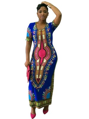 Flexible Blue Round Collar Exotic Pattern Maxi Dress Fashion Shopping