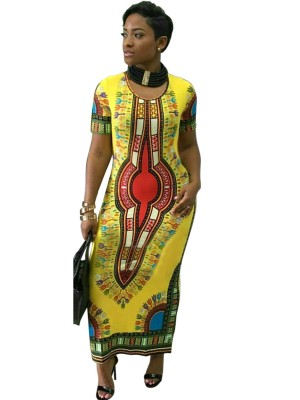 Comfortable Yellow Maxi Dress Short Sleeve African Print For Sexy Women