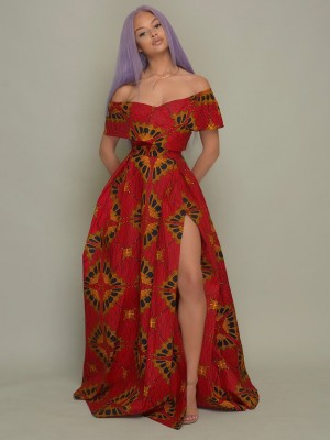 Eye Catching Red Maxi Dress African Paint Off Shoulder Casual Fashion