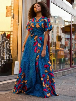 Voluptuous Blue Slit Tie Ethnic Pattern Maxi Dress Women Clothes