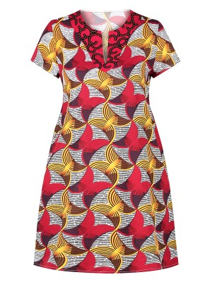 Sweetheart Red Midi Dress Short Sleeve African Pattern Modern Fashion
