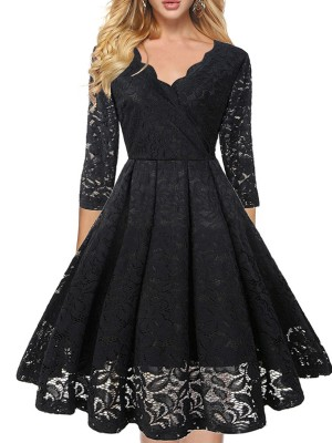 Seductive Black Lace Cross V Neck Midi Dress Swing Hem Super Soft