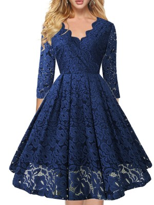 Diva Dark Blue V-Neck Solid Color Lace Midi Dress Fashion For Women