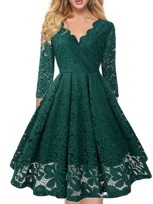 Attractive Green V Neck Back Zipper Half Sleeves Midi Dress For Party