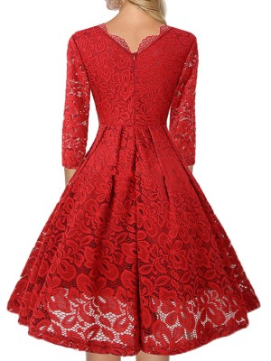 Super Sexy Red High Waist Zipper Lace V Neck Dress For Ladies