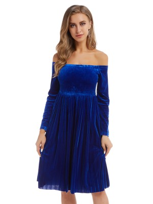 Sassy Royal Blue Solid Color Midi Dress High Waist Fashion For Women