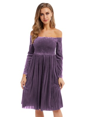 Sophisticated Purple Midi Dress Long Sleeve Velvet Wholesale