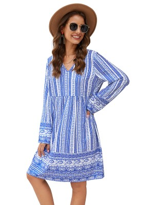 Special Blue Back Hollow Out Midi Dress V-Neck Ideal Choice
