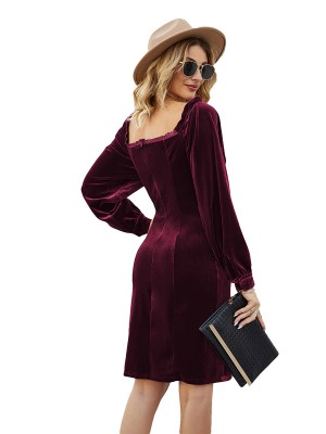 Flattering Jujube Red Sweetheart Neck Midi Dress Zipper Woman