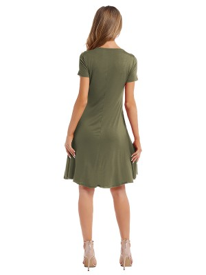 Relaxed Army Green Plain Midi Dress Pleated Crewneck Charming