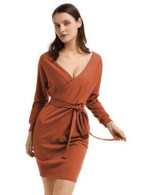 Soft Brown Waist Belt Kint Sweater Dress Full Sleeves Lady Fashion