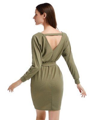 Incredible Green Knit Full Sleeve Waist Belt Hip Dress Glamor Women
