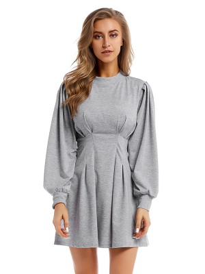 Brilliant Gray Crew Neck Mini Dress High Waist Comfort Fit