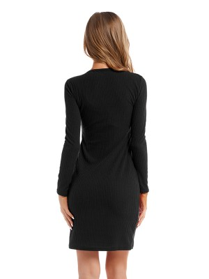 Intrigued Black V Collar Sweater Dress Lace-Up Feminine Elegance