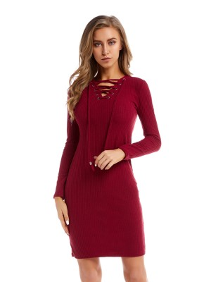 Ethereal Wine Red Drawstring V Neck Sweater Dress Casual Fashion