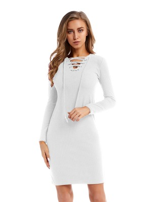 Figure-Hugging White Sweater Dress Mini Length Lace-Up Trend