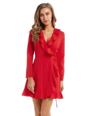 Angel Red Waist Tie Mini Dress Cross V Neck Female Elegance