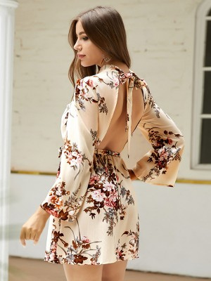 Feminine Apricot Open Back Bell Sleeves Mini Dress Newest