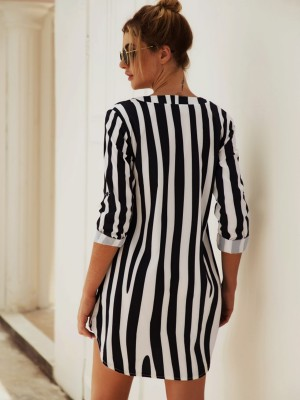 Vibrant Mini Dress Stripe Print Long Sleeve Formal Settings