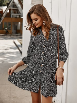 Delicate Black 3/4 Sleeve Spot Print Mini Dress Casual Women