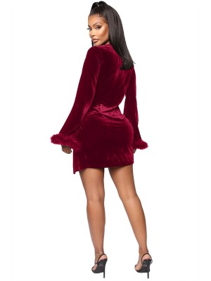 Wine Red Mini Dress Velvet Deep-V Neck Slit Ladies Fashion