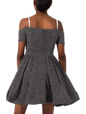 Delightful Gray Mini Length Sling Skater Dress On-Trend Fashion