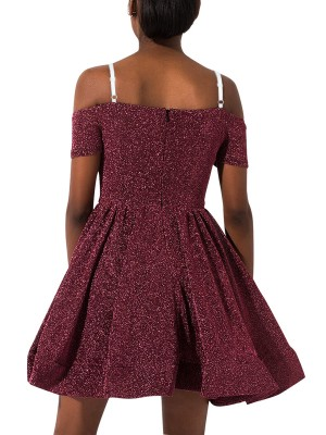 Form-Fitting Wine Red Swing Hem A-Line Skater Dress Fashion Trend