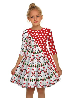 Brilliant Swing Hem Mom Kid Dress Patchwork For Sauntering