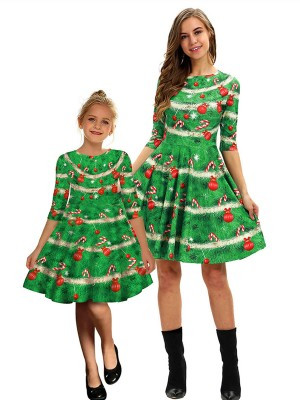 Marvelous Mom Kid Skater Dress Digital Print Fashion Sale