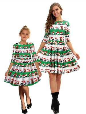 Unique Animal Paint Swing Hem Mom Kid Dress Women Fashion