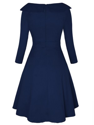 Body Hugging Blue High Rise Skater Dress Zip Queen Size Fashion Insider