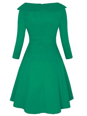 Glitzy Green Patchwork Skater Dress Big Size Zipper For Party