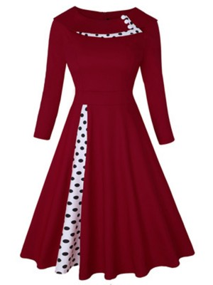 Exquisitely Wine Red Large Size Turndown Collar Skater Dress
