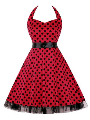 Remarkable Mesh Hem Dot Skater Dress Plus Size Feminine Charm