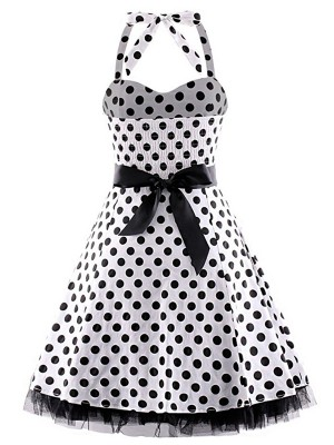 Marvelous Sleeveless Dot Large Size Skater Dress Online Shopping