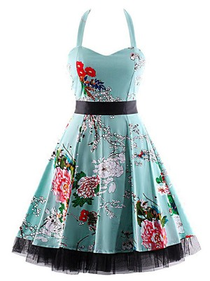 Retro Flower Swing Hem Plus Size Skater Dress Modern Fashion