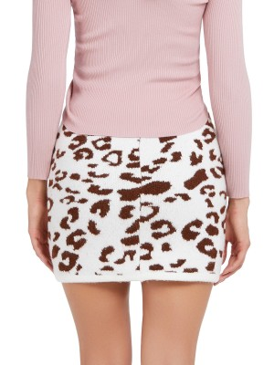 Leisure Brownness Leopard Knitted Skirt Elastic Waist All-Match Style
