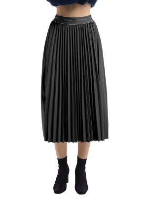 Amazing Black Solid Color High Waist Maxi Skirt For Beauty