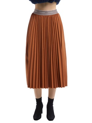 Coffee Color Pleated Skirt Maxi Length Solid Color Understated Design