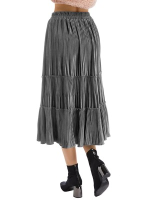 Illusion Maxi Length Pleated Skirt High Rise Elastic Material