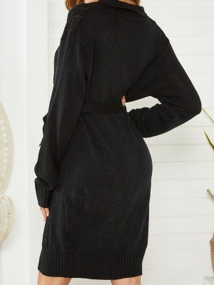 Tantalizing Black Sweater Dress With Belt Front Button