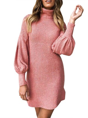 Adorable Pink High Neck Solid Color Sweater Dress For Beauty