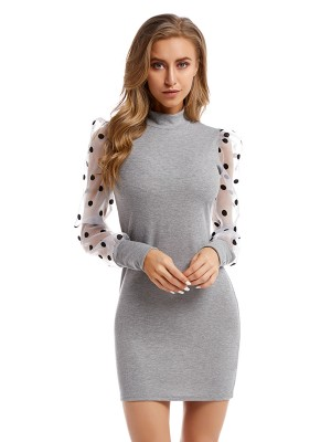 Chic Gray Mock Neck Sweater Dress Mini Length For Camping